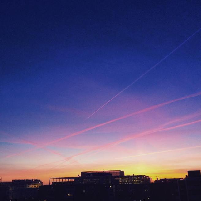 geometric sunset over dr byen in copenhagen march 2016